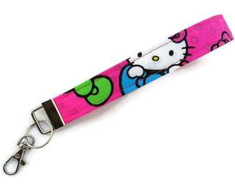 Key Fob~Hello Kitty Neon Expressions Bows & Dots on Pink~Key Chain, Wristlet Fob, Key Lanyard, Girls Fob, Wristlet for Keys~~READY~To~ShIP~~