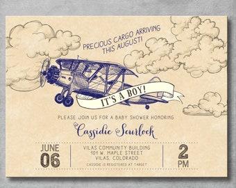 Vintage Airplane Baby Shower Invitation - Precious Cargo - Navy Blue - Baby Boy Shower - Birthday - Printable - Digital - DIY - Invite