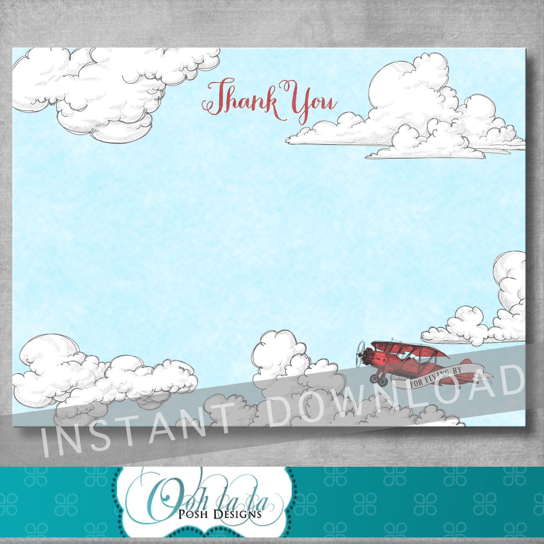 Vintage Baby Shower Thank You Cards: Vintage Airplane Thank You Card Baby Shower Birthday 4 X
