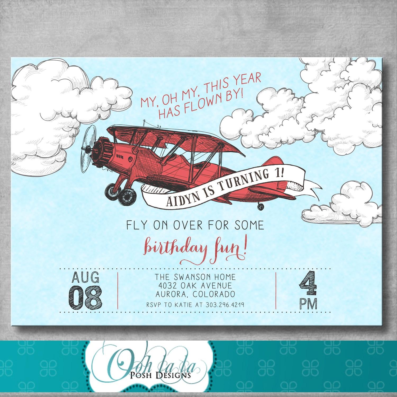 Vintage Airplane Invitation First Birthday 1st Retro