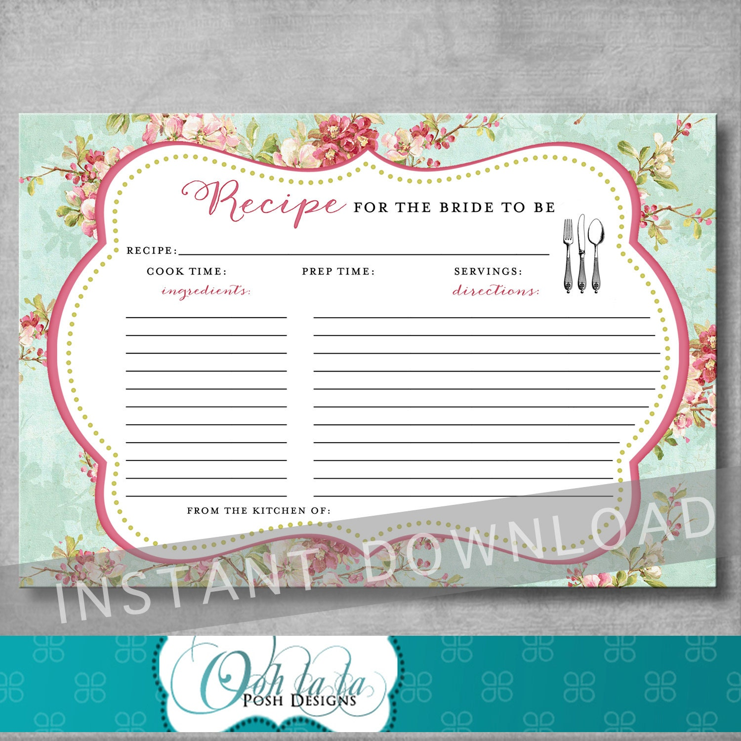 Printable Recipe Card Bridal Tea Recipe Card Stock the Kitchen Bridal Shower Recipe Card Shabby Chic Digital INSTANT DOWNLOAD