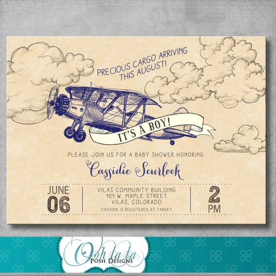 vintage airplane Airplane travel vintage Precious Cargo thank you card digital file only Baby Shower thank you