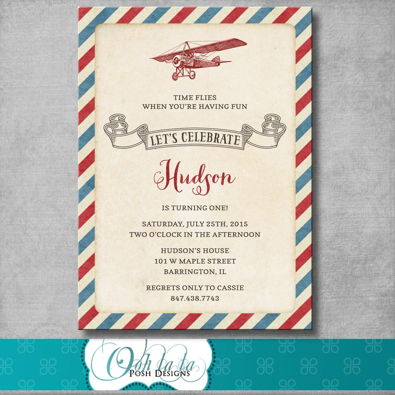 Vintage Airplane Birthday Party Invitation 1st First | Etsy