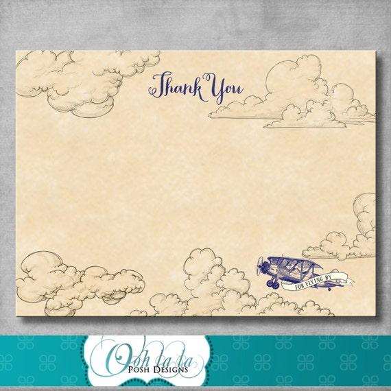 Vintage Baby Shower Thank You Cards: Vintage Airplane Thank You Card Birthday Baby Shower 4 X