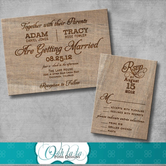 Rustic Burlap Wedding Invitation With Matching Response