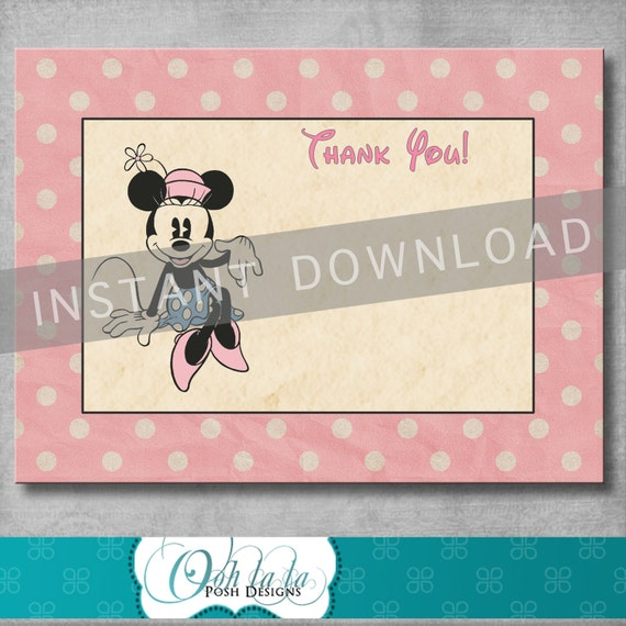 Digital Black and White with Polka Dots Classic Red INSTANT DOWNLOAD Thank You Favor Tag Inspired by Minnie Mouse