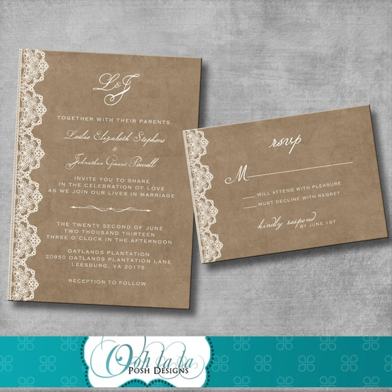 Wedding Invitations Emily Post Etiquette: Wedding Invitation And Matching Response Card Vintage
