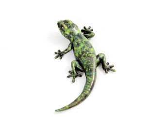 Gecko - size 2, mottled green and black - Bronze