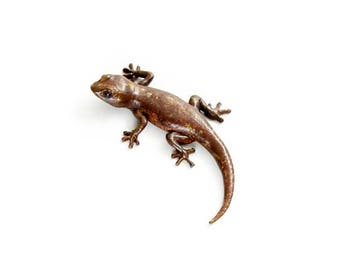 Gecko - size 2, dark mottled brown - Bronze