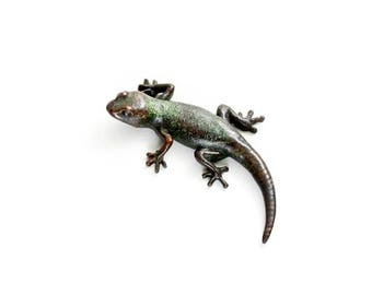 Gecko - size 2, green and black - Bronze