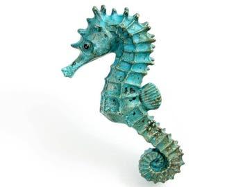 Large Verdigris Seahorse (LSH4). Open Edition Bronze.