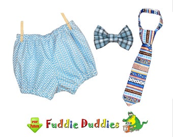 Tie & Bloomer Sewing Pattern SET for Infants. Fun Photo prop, INSTANT PDF Download Billy