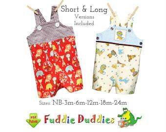 Baby Boys Short & Long Romper Sewing Pattern, Jon Jon, Longall Digital PDF Sewing Patterns. Tyler