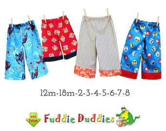 EASY! Pants or Shorts PDF Digital Sewing Pattern. Kids Pajama & Lounge Pants. Fuddie Duds
