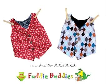 Boys Lined Vest Sewing Pattern. Toddler, Boys & Infants Vest for Dress up or play time. PDF Instant Digital Download. Jacob