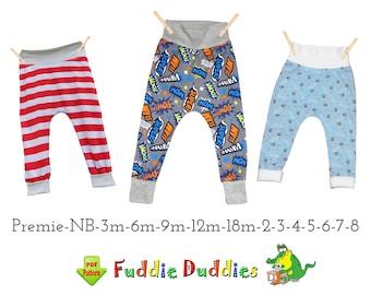 Quick Easy Boys Pants Pattern, pdf. Baby Sewing Pattern, Baggy Harem style. Toddler Boys Pants, Leggings Knit Jersey Fleece Woven Bryson
