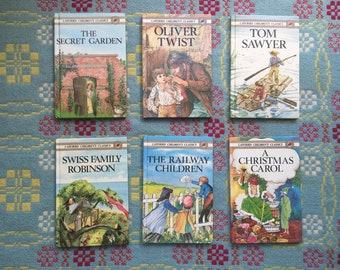 Vintage Ladybird Book Bundle - Swiss Family Robinson, The Railway Children, Oliver Twist, Tom Sawyer, A Christmas Carol, The Secret Garden