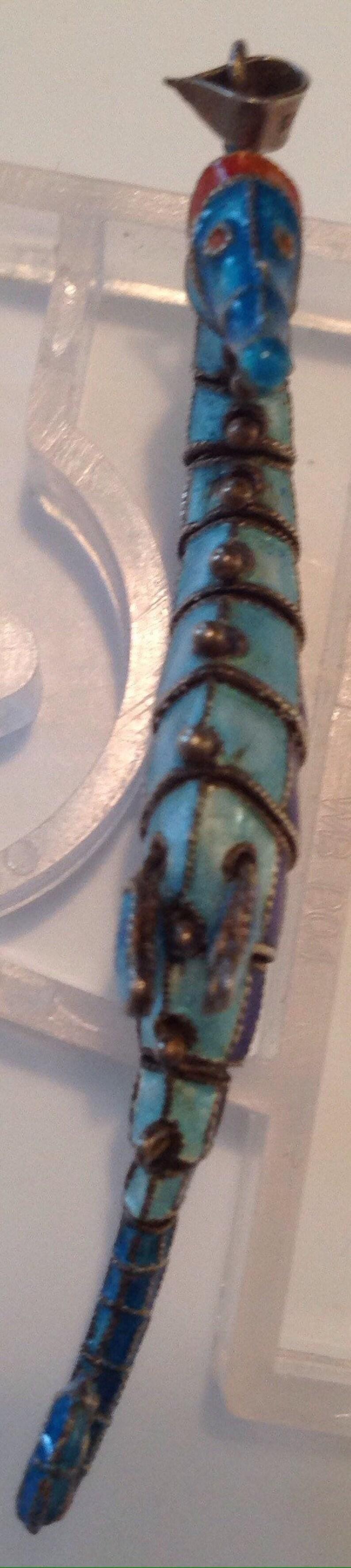 Silver and enamel vintage reticulating Seahorse