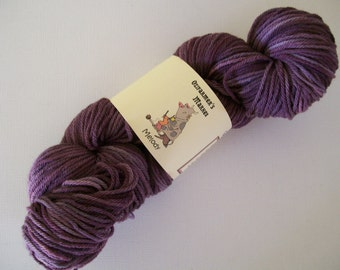 Melody- 8ply/light worsted/DK Machine Washable Aubergine BFL.  Eggplant