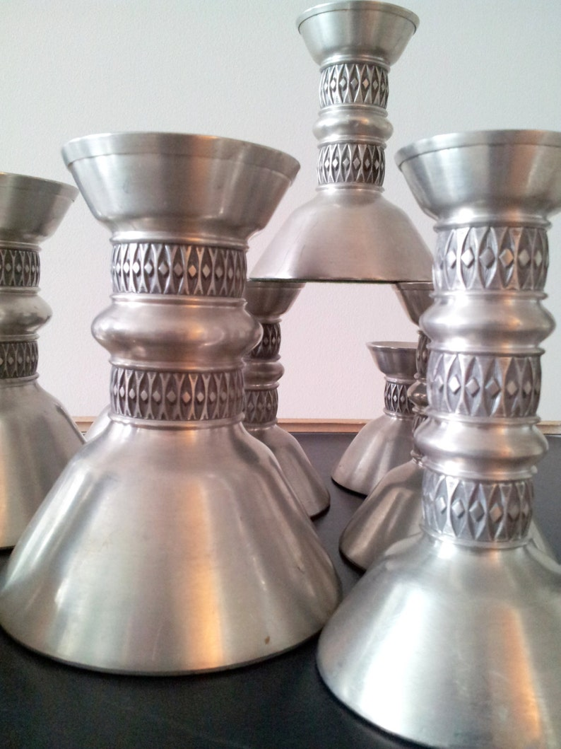 Vintage Danish 13 Candle Stick Holders Pewter Selandia Norway Art Deco Mod Mid Century Wedding Reception