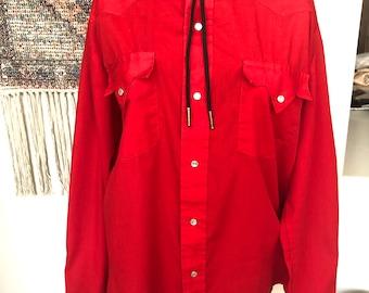 Vintage Western Red Shirt Ladies Medium Pardner Designer Korea 70s