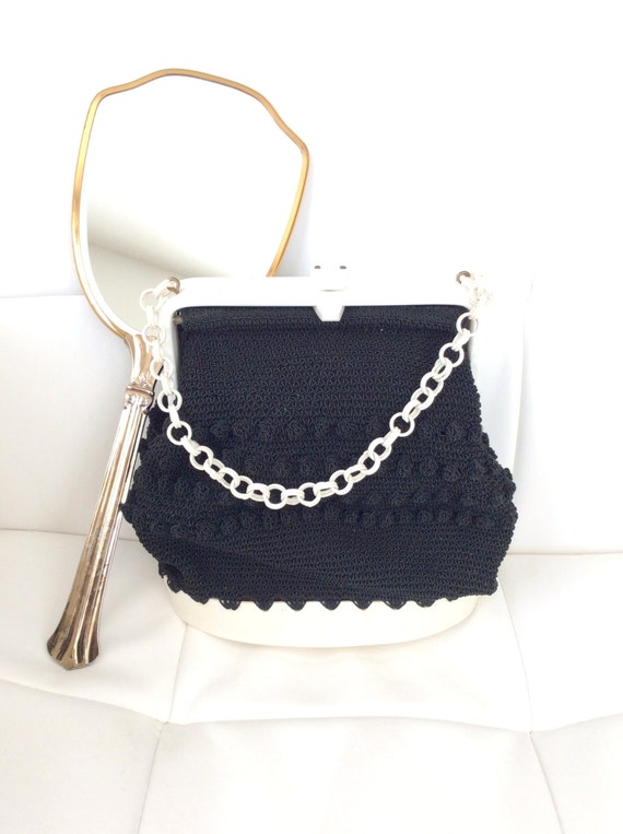 Vintage Handmade Purse 60s Black and White Cool !