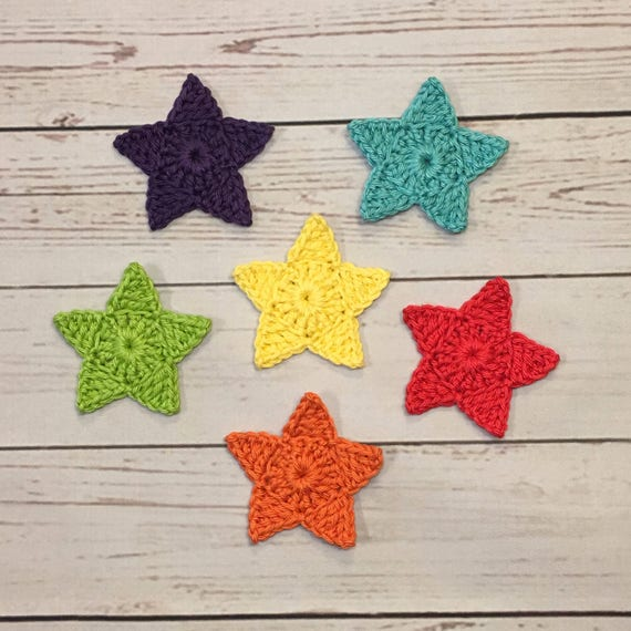 Crochet Star Applique Set Of 6 Rainbow Colored Etsy
