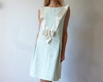 Linen dress ivory and green en linen and silk