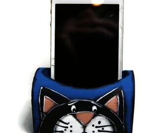 Station d'accueil pour téléphone -Support de téléphone portable avec deux chats - Support de téléphone portable bleu