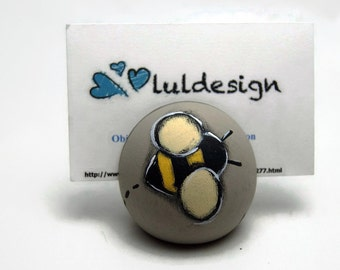 Photo holder ball with black and yellow bee - Photo hanger bee - Photo frame with bee and hearts