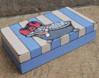 Bathroom Wooden painted box - Box with swimmer girl - Bath products container