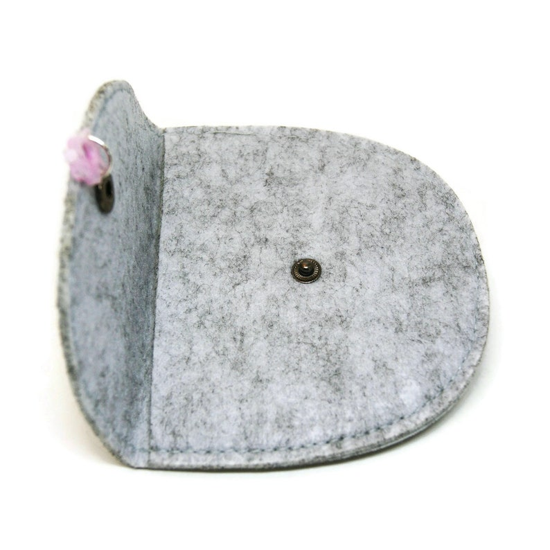 Purse with name Customizable wallet with cat/'s head Felt pouch with name and snap closure Cat lover gift