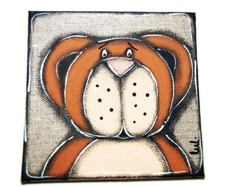 Brown bear painted on linen - Teddy bear painted - Child bedroom decoration