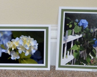 Martha's Vineyard Hydrangeas ~ 4 Handmade Cards ~ Blank Inside