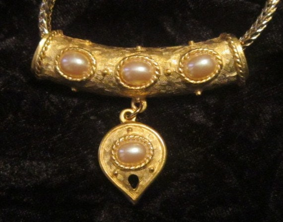 Vintage Gold and Pearl Heart Pendant and Chain - … - image 1