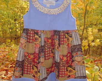 3T-4T - Harvest Doll and Fleece Dress w/crocheted hem and Flower clip by Freckles Garden