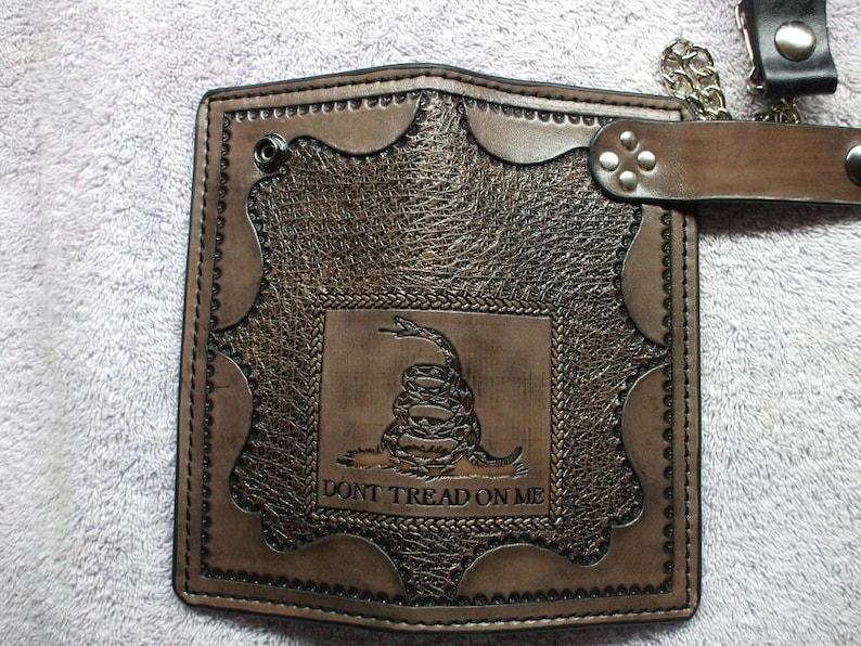 made to order in black or brown Brown Dont tread on me chain wallet