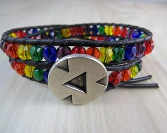 Rainbow Leather beaded wrap bracelet