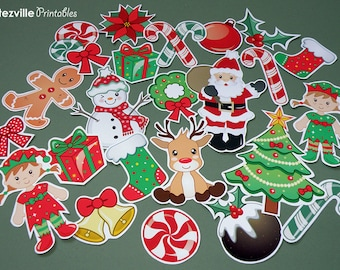 PRINTABLE Pdf Christmas Collage Craft Sheets  - INSTANT DOWNLOAD