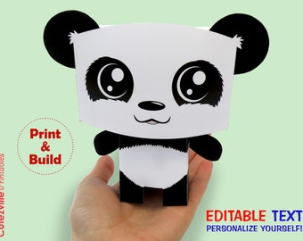 Panda, Favor, Candy, Gift Box - Editable Text Printable PDF - INSTANT DOWNLOAD