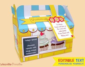 Cupcake Shop, Favor, Gift Box (Yellow) - Editable Text Printable PDF - INSTANT DOWNLOAD