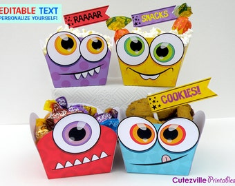 PDF Printable Monster Snack Boxes / Gift Baskets With Editable Text - INSTANT DOWNLOAD