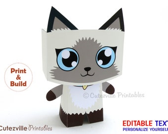 Kitten / Cat, Favor, Candy, Gift Box (Siamese) - Editable Text Printable PDF - INSTANT DOWNLOAD