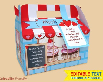 Valentine's Cupcake, Favor, Candy, Gift Box (Blue) - Editable Text Printable PDF - INSTANT DOWNLOAD