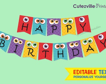 Monster Bunting Banner - Editable Text Printable PDF - INSTANT DOWNLOAD