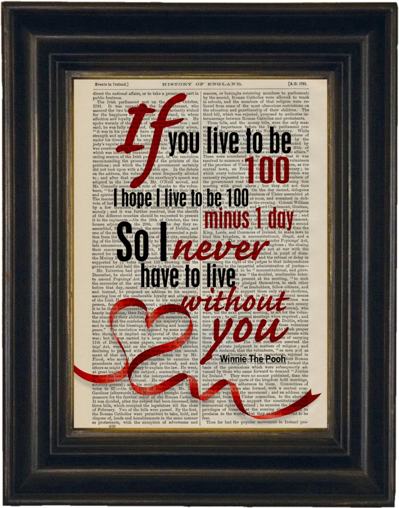 Winnie The Pooh If You Live To 100 Never Have To Live Without Etsy