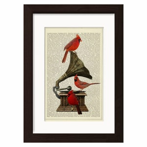 8x10 SEASON of Magic RYTA Christmas Winter Holiday Black cat Oriole Cardinal birds vintage style folk art home decor design decoration art