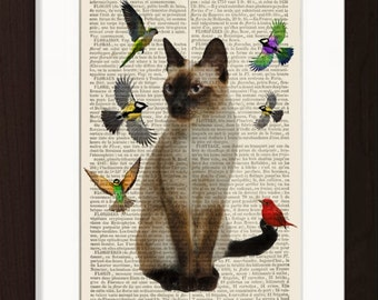 Cat Lover Print  Siamese Cat with Birds Print dictionary art page