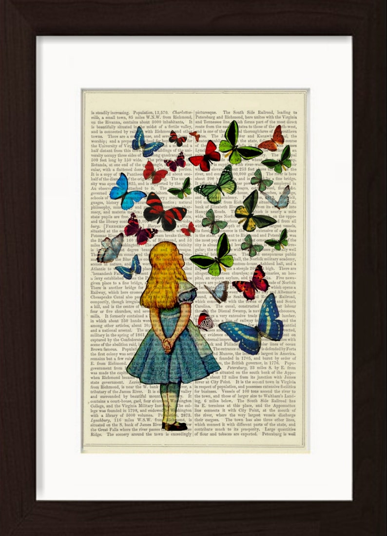 Alice Watching Butterflies mixed media Print on upcycled image 0