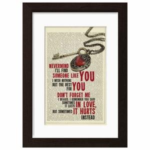 Adele Someone Like You Song Lyrics Print On Upcycled Vintage Etsy